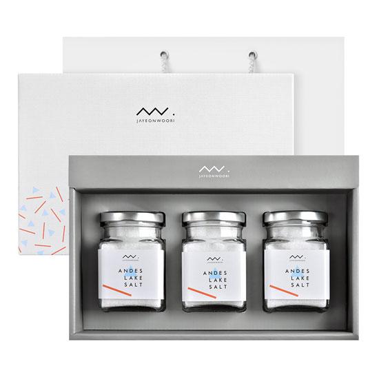 [자연우리] 안데스소금 3종 유리병 선물세트(쇼핑백有) 이미지